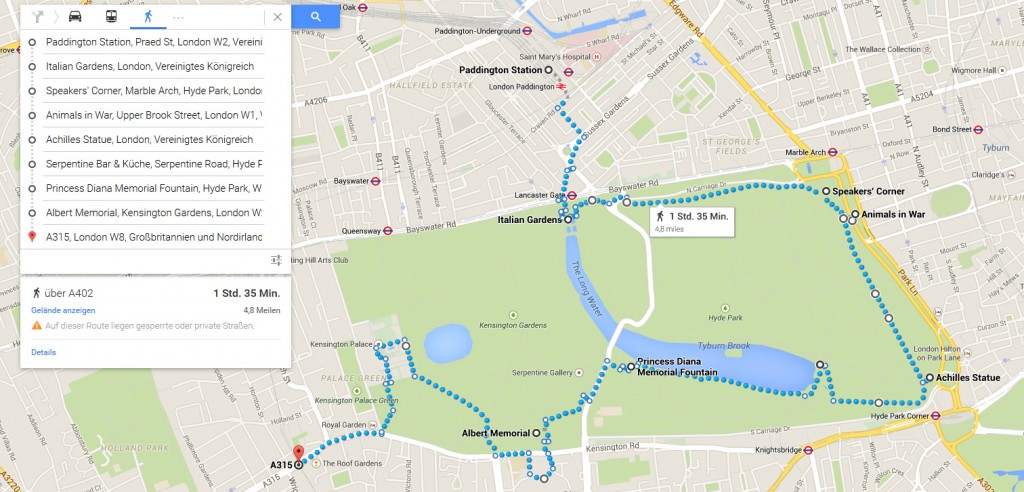 Meine Route für den heutigen Tag. Quelle: google.com