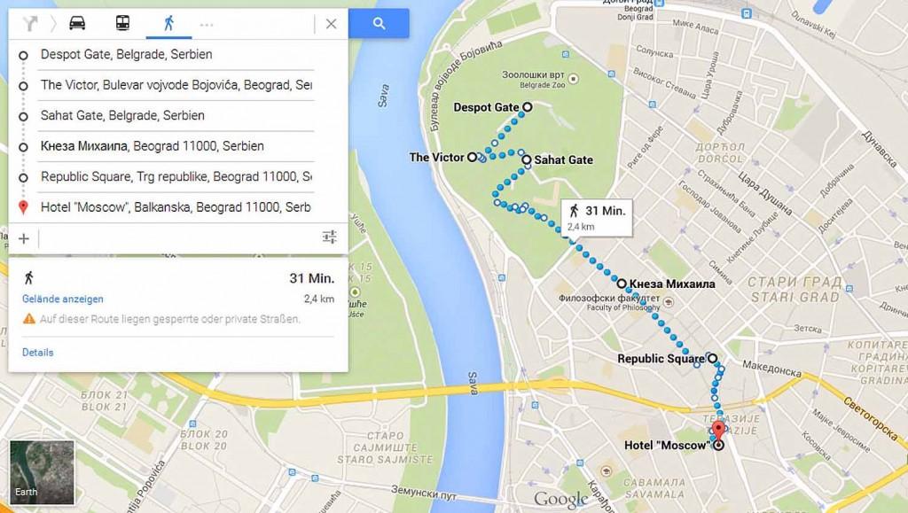 Route vom Kalemegdan Park bis zum Hotel Moscow Quelle: www.google.com