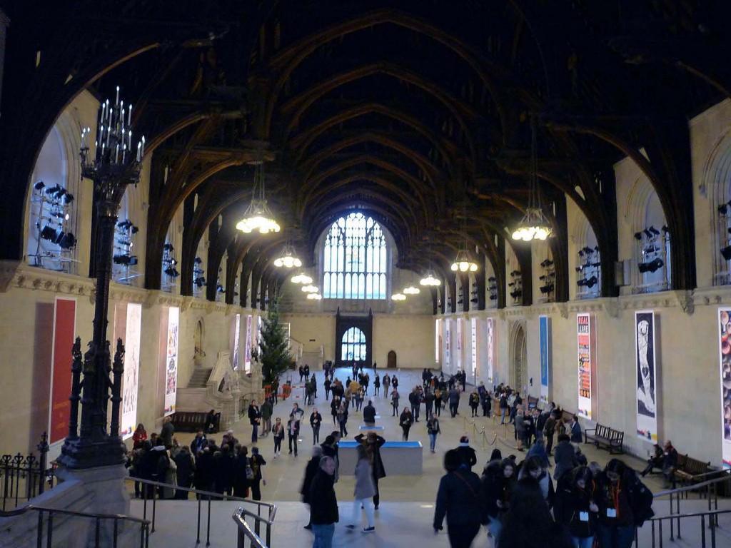 Westminster Hall mit dem Eichen-Hammerbeam-Dach