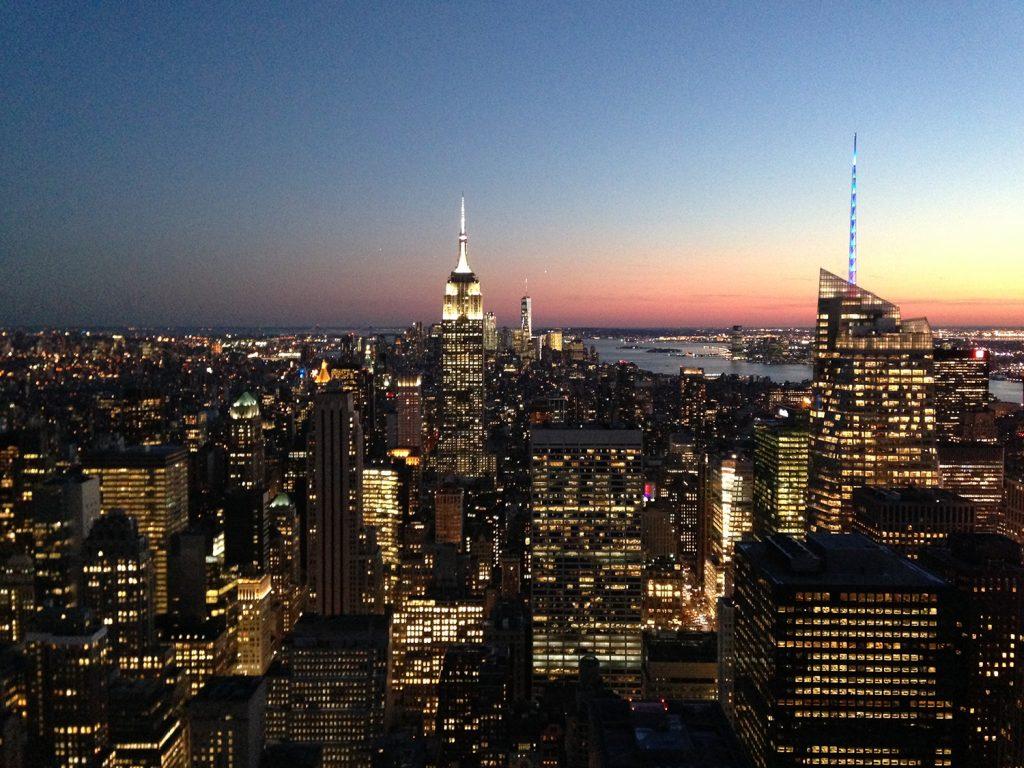 Der Sonnenuntergang auf dem Rockefeller Center ist unbeschreiblich