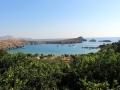 Ausblick auf den Strand von Lindos
